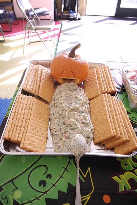 Halloween Table with Spooky Foods for Allen Sarac's Parofessional Karate Center's Annual Halloween Costume Party & Karate Tournament