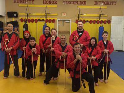 All ages are learning the Cane Weapon Class at Allen Sarac's Professional Karate Centers